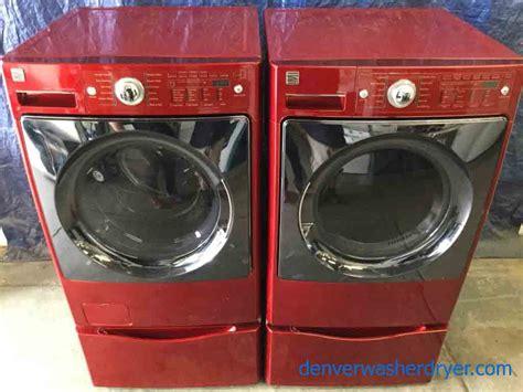 large images   year   red kenmore elite front load washer dryer set  pedestals