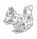 Steampunk Punk Coloring Steam Vector Mechanical Animals Squirrel Animal Punker Tattoo Robot Coloriage Drawing Dampf Eichhoernchen Stil Animaux Automne Clipart sketch template