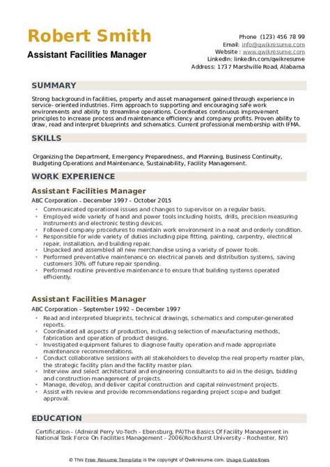 Facility Manager Resume by Facilities Manager Resume Sles Qwikresume