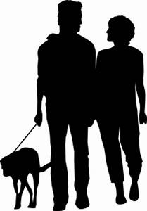 Couple silhouette walking with a dog Photo | Free Download