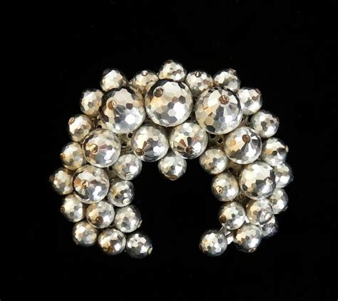 vintage estate costume jewelry brooch silver beaded