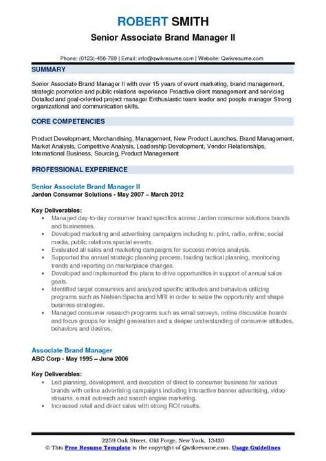 Resume Build Relationships by Associate Brand Manager Resume Sles Qwikresume
