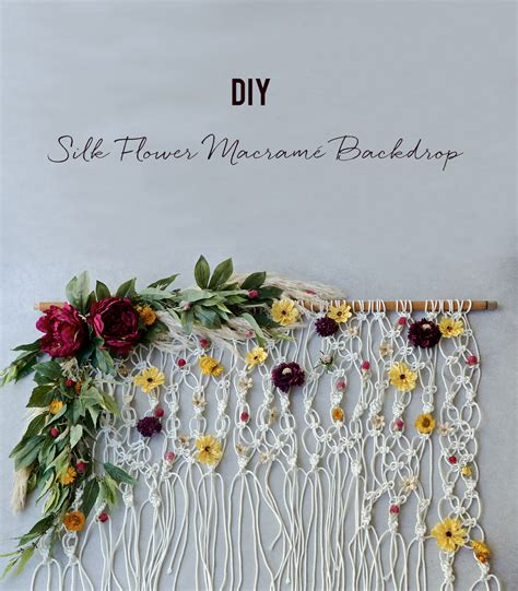 diy silk floral macrame backdrop green wedding shoes