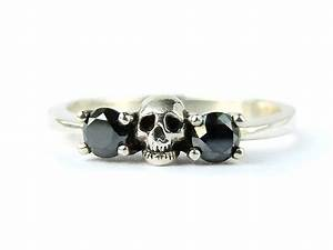 skull wedding set white gold band black diamond victorian With skull wedding band rings