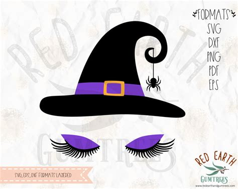 witch  lashes witch hat halloween witch  eyelashes  svg eps  dxf png formats
