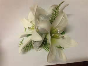 purple corsage ivory tiger lilies bridal bouquet johannas 4 weddings