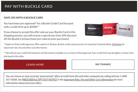 50 for your next recharge or bill payment. Buckle Store Credit Card Review: High Interest and Fine Print - MagnifyMoney