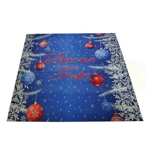 Christmas GREETINGS blue rug runner 100x110 cm. B5