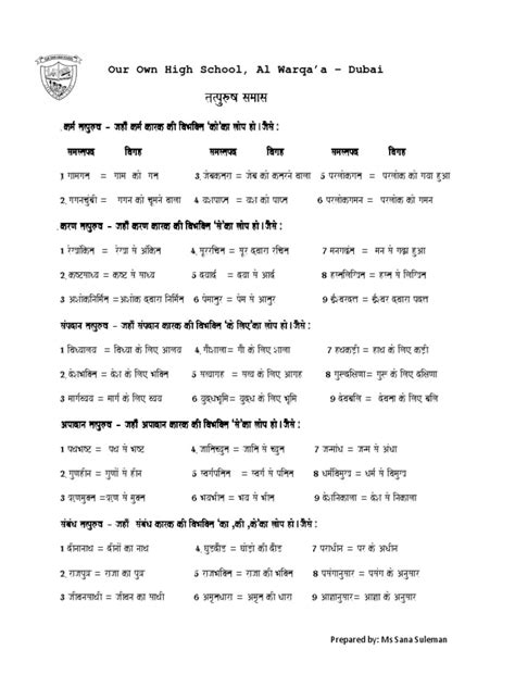 hindi grammar worksheets for class 7 pdf exle