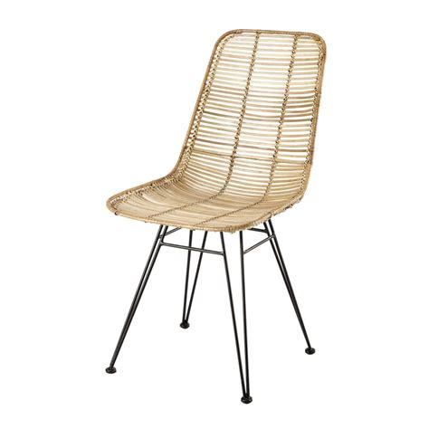 chaise en rotin  metal pitaya maisons du monde