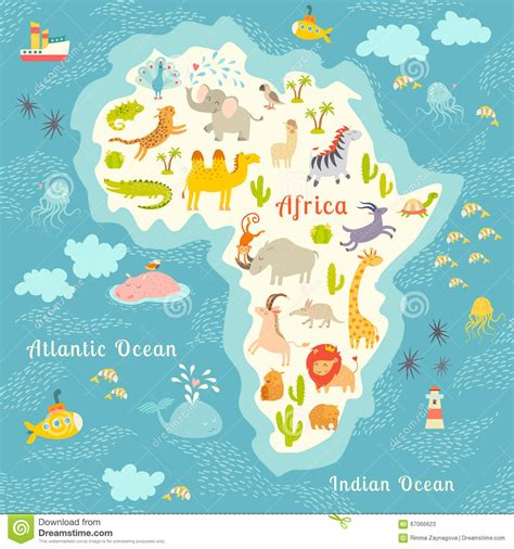 Carte Vectorielle Monde Powerpoint by Carte Du Monde D Animaux Afrique Illustration
