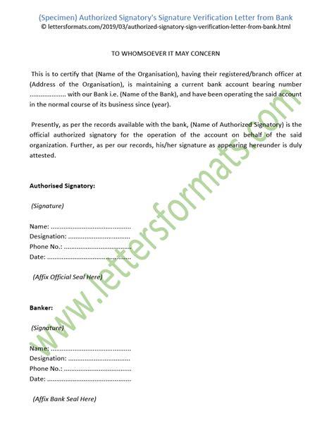 authorized signatorys signature verification letter