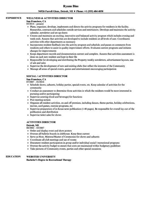 activities director resume sles velvet