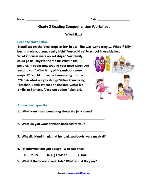 worksheets second grade reading worksheet waytoohuman