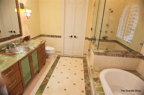 green onyx vanity tub deck shower ledges