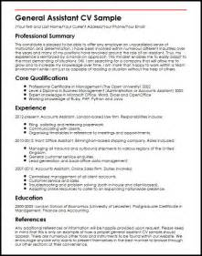 assistant general manager resume template general assistant cv sle myperfectcv