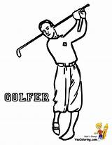 Golf Coloring Sports Player Pages Golfer Ball Driver Yescoloring Fisted Theme Template sketch template