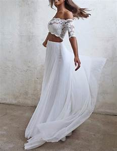 seductive lace 2 two piece wedding dresses summer chiffon With two piece beach wedding dress