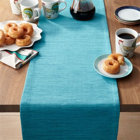 "Grasscloth 90"" Aqua Blue Table Runner   Reviews   Crate"