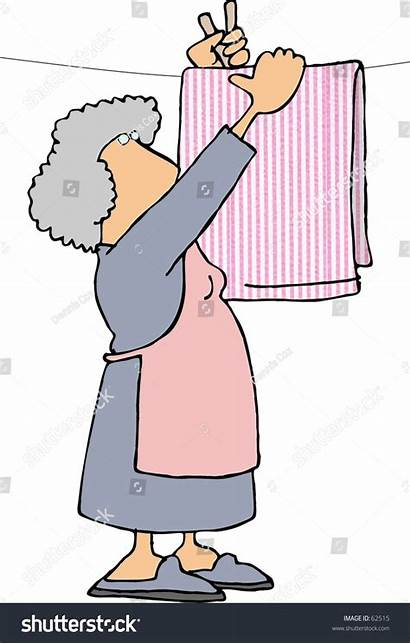 Hanging Clipart Woman Clothes Sheets Line Illustrations