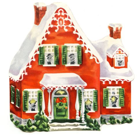 retro clip art darling christmas cottage  graphics