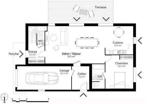plan maison 6 chambres cuisine ouverte sur sejour salon 14 plan maison 224