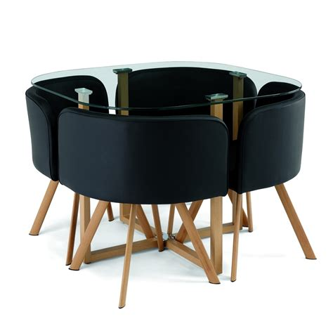 deco in ensemble table 4 chaises encastrable noir