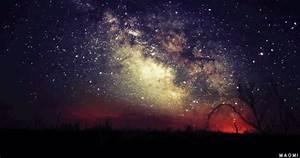 tree landscape galaxy nebula stars nature mygif milky way ...