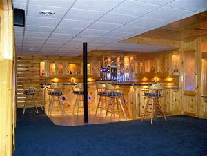 Scenic Wooden Home Bar Panel With Curved Counter Island As
