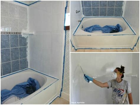 Painting Bathroom Tiles Before And After by How To Refinish Outdated Tile Yes I Painted My Shower