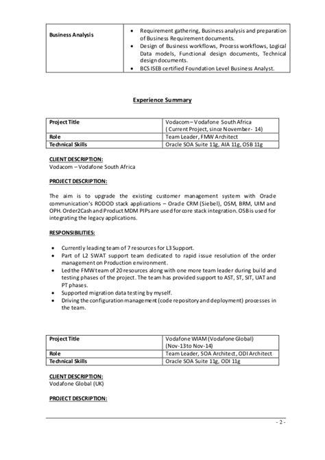 oracle soa experience resume resume