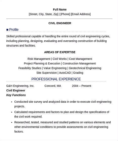 keys  civil engineering resume