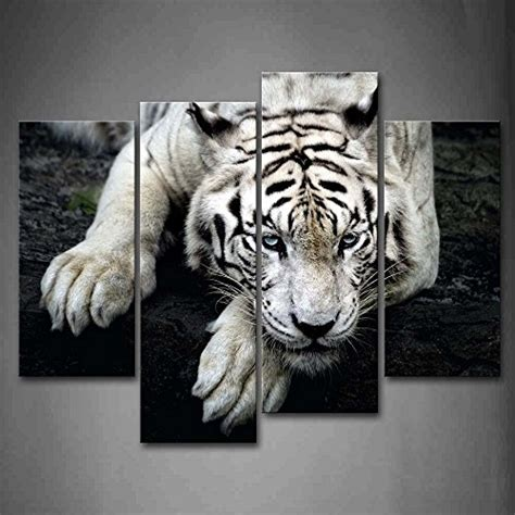 Home Decor White Tiger Lie On Rock Wall Art Painting
