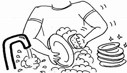 Dishes Clipart Washing Clean Wash Cleaning Coloring