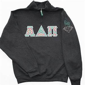 1 4 zip greek letter applique sweatshirt with big or With sorority letter sweatshirts