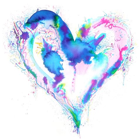 Abstract Watercolor Heart Love