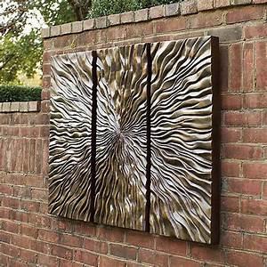 sunburst triptych wall art frontgate modern artwork With outdoor wall decor
