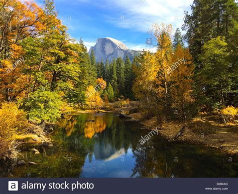 Half Dome Overlooking Merced River In Autumn. Yosemite