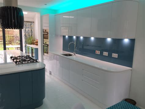 handleless white blue german kitchen bishops stortford blax