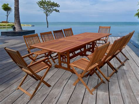 table de jardin en bois salon de jardin en bois exotique osaka quot bali quot 1 table extensible 240 300cm 2 fauteuils 8