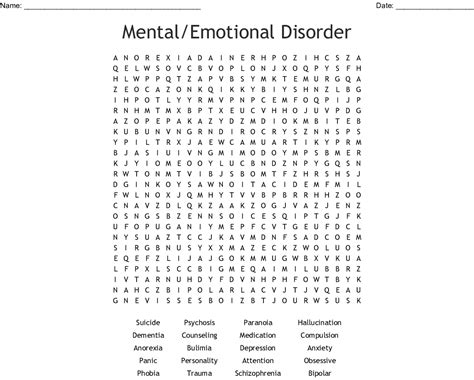 Mental/emotional Disorder Word Search