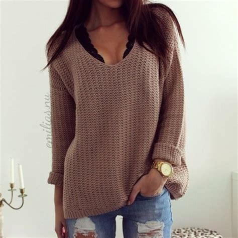 sweater clothes black bra black brown sweater blouse v neck sweater