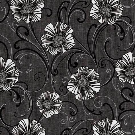 creation liberty dark grey white floral wallpaper