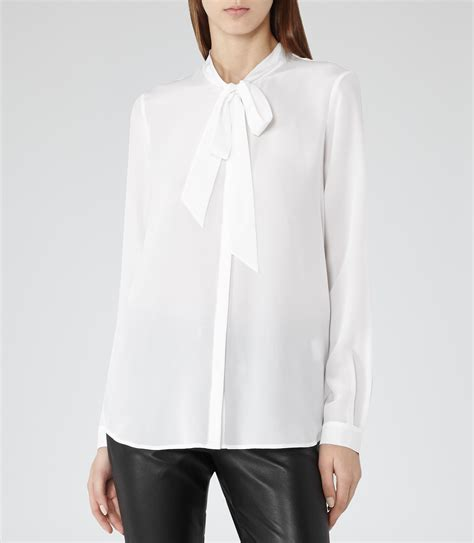 white blouse with bow julie white bow blouse reiss