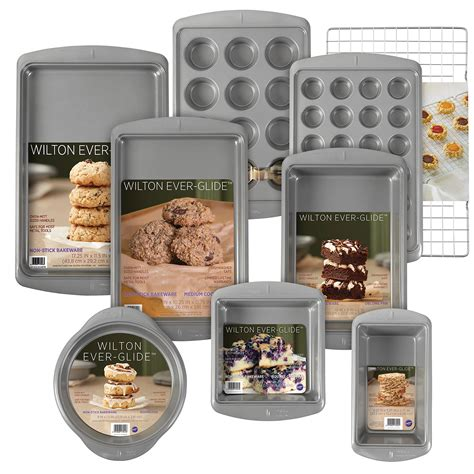 bakeware wilton stick non pan glide piece loaf sets pans mini ever oblong cup muffin square round cookie amazon cooling