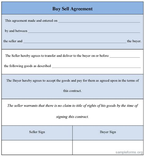 buy sell agreement template buy sell agreement form sle forms