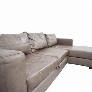 81 off arhaus arhaus grey soft leather convertible for Sectional sofas arhaus
