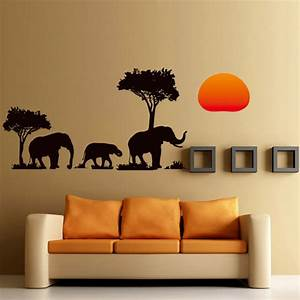 New arrival jungle wild cartoon tree elephant sunset for Wall decals for home