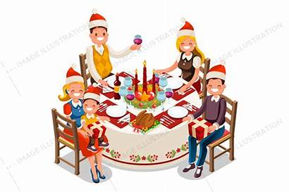 Dinner Christmas Party Vector Clipart Illustration Funny