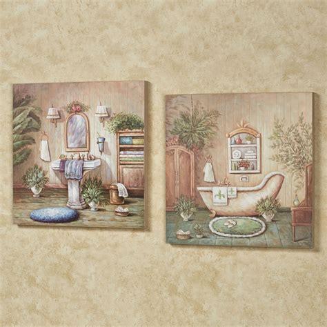 blissful bath wooden wall art plaque set